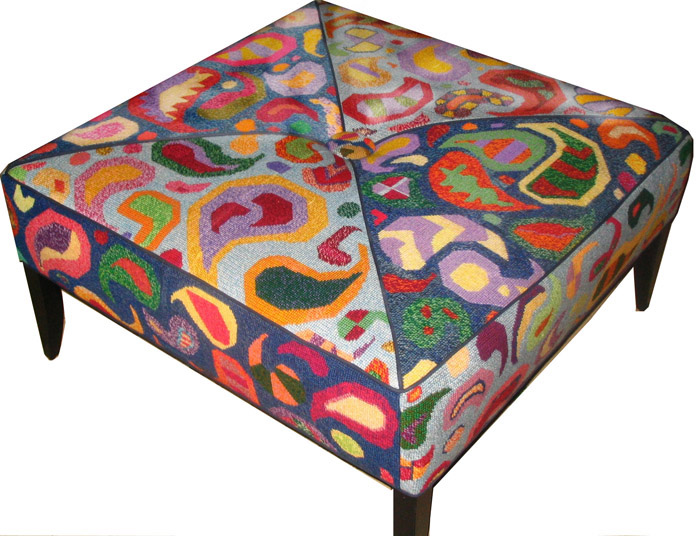 very large footstool bench designed to be needlepointed in 6 canvases
